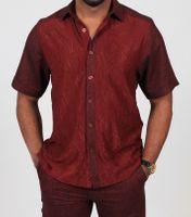 Prestige Dark Red Knit Front Linen Casual Outfit LUX-658