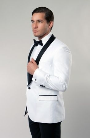 Slim Fit Dinner Jacket White Black Collar Tazio MJ118S - click to enlarge