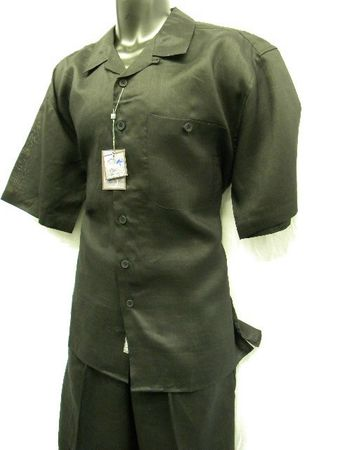 Successo Mens Short Sleeve Black Linen Walking Suit 1065