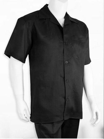 Successo Mens Short Sleeve Black Linen Walking Suit Menswear 1065