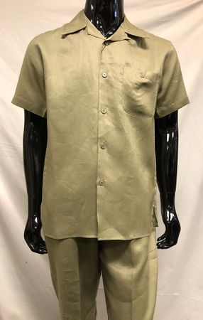 Mens Olive Green Linen Walking Suit Outfit Successo 1065SP