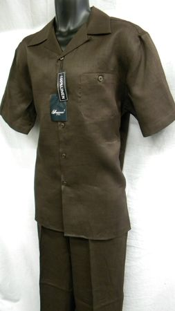 Successo Mens Brown Linen Shirt and Pants Set 1065 Size M