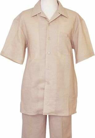 Successo Mens Beige Linen Walking Suit Beach Wedding 1065