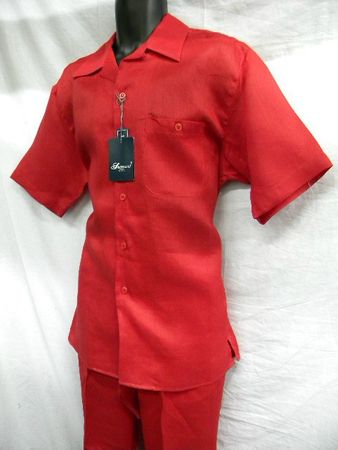 Successo Mens Red Linen Walking Suit Short Sleeve Shirt & Pants 1065