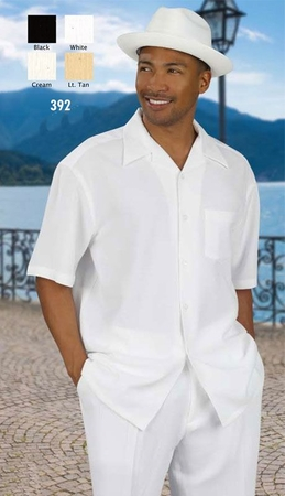 Successo Mens All White Linen Pants and Shirt Set 1065 - click to enlarge