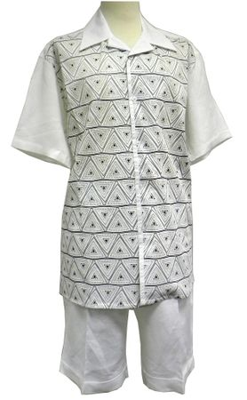 Mens White Linen Short Set Triangle Mesh Front Successo 3343 - click to enlarge