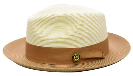 Summer Fedora Hat for Men Beige Sand Two Tone Straw SA-803
