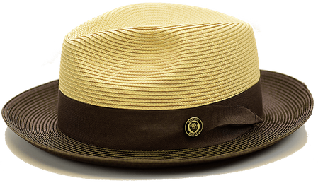 Summer Fedora Hat for Men Natural Brown Two Tone Straw SA-802