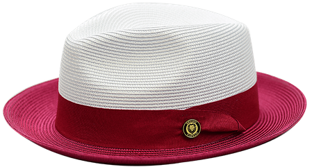 Summer Fedora Hat for Men White Burgundy Two Tone Straw SA-805