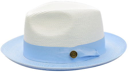 709c57bd5537f Summer Fedora Hat for Men White Light Blue Two Tone Straw SA-804