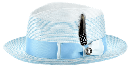 Summer Fedora Hat for Men White Light Blue Two Tone Straw SI-963