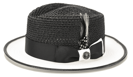Summer Fedora Hats for Men Black White Bruno HA722