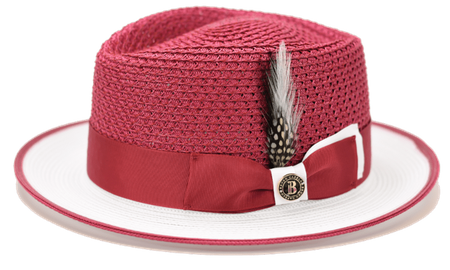 Summer Fedora Hats for Men Burgundy White Bruno HA725