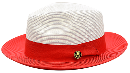Summer Hats for Men Red White Straw Fedora Bruno SA801