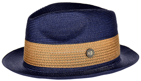 Summer Hats for Men Navy Camel Fedora Bruno BW844
