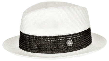 Summer Hats for Men White Black Fedora Bruno BW843 Size S