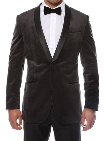 Ferrecci Charcoal Velvet Tuxedo Jacket Shawl Collar Enzo - click to enlarge