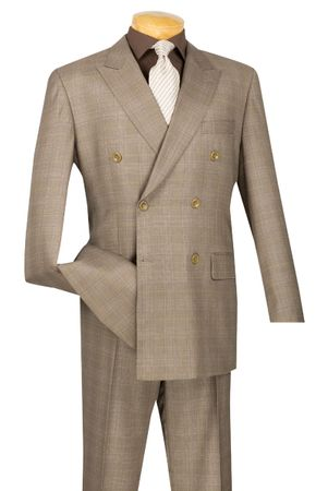 Tan Plaid Double Breasted Suit Men Vinci DRW-1