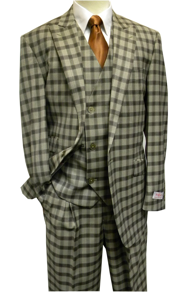 b58cfd5959e1 Tiglio Rosso Taupe Plaid Italian Wide Leg Style Wool Suit FT303 Size 42R  Final Sale