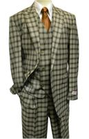 Tiglio Rosso Taupe Plaid Italian Wide Leg Style Wool Suit FT303