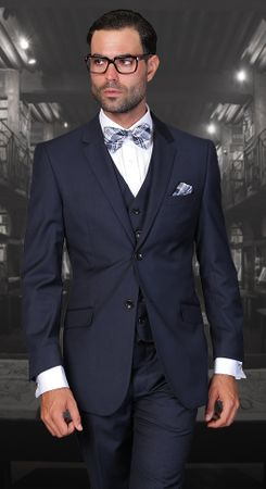 Statement 100% Wool Tailored Fit Navy 3 Piece Suit STZV-100 Size 44L Final Sale