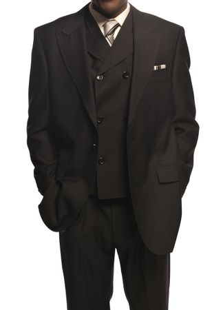 Tiglio Rosso Mens Black Wool Wide Leg Suit San Giovesse TIG1001