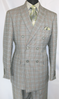EJ Samuel Mens Double Breasted Suit Olive Tartan Plaid M2704