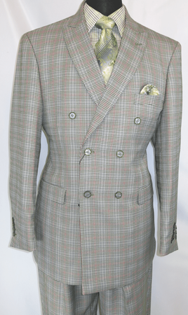EJ Samuel Mens Double Breasted Suit Olive Tartan Plaid M2704 - click to enlarge