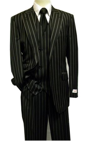 Tiglio Rosso Black Bold Stripe Mens Super 150s Wool Wide Leg Italian Suit RF2664 Size 42R, 44L