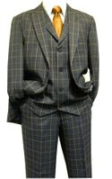 Blu Martini Mens Blue Camel Plaid Jett Suit 3755-002 Size 50R Final Sale