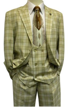 Stacy Adams Tan Plaid Scoop Vest 1920s Vintage Style Suit 5550-018 IS - click to enlarge