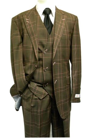 Tiglio Rosso Italian Wool Wide Leg Brown Plaid Suit RF2627 Size 50L Final Sale