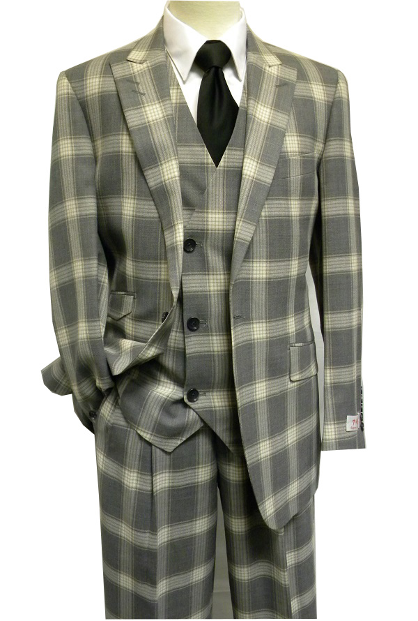 c65d98823c66 Tiglio Rosso Grey Tan Plaid Italian 150s Wool Wide Leg Style Suits RS6300