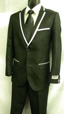 Tazio Black White Slim Fit Suit M169S IS - click to enlarge