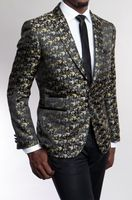 Tazio Mens Black Gold Pattern Slim Fit Blazer MJ183-02