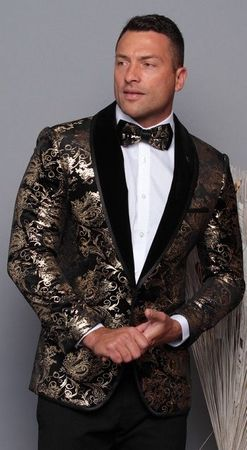 Manzini Men's Black and Gold Floral Fitted Tuxedo Blazer MZV-517 Bow