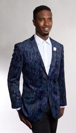 Tazio Mens Blue Texture Velvet Blazer Slim Fit MJ164S-02