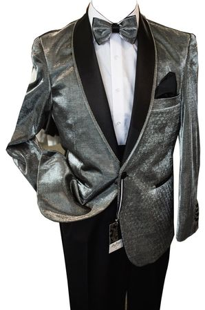 Men's Metallic Silver Tuxedo Jacket Blazer After Midnite 5876 Size M
