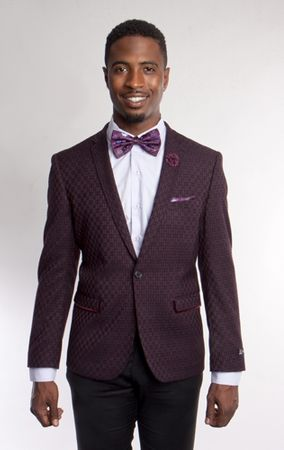 Tazio Mens Burgundy Link Pattern Slim Fit Tuxedo Blazer MJ184-02