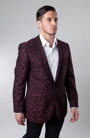 Slim Fit Dinner Jacket Mens Burgundy Patterned Tazio MJ153S-04 - click to enlarge