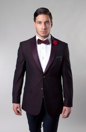 Slim Fit Tuxedo Dinner Jacket Mens Burgundy Tazio M156S-02 - click to enlarge