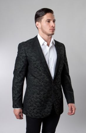 Slim Fit Dinner Jacket Mens Green Patterned Taziot MJ153S-03