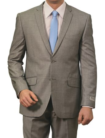 Tazio Men's Grey Heather 2 Button 1960s Style Slim Fit Suit M130S