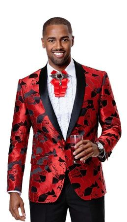 Party Blazer For Men Red Floral Pattern EJ Samuel J67