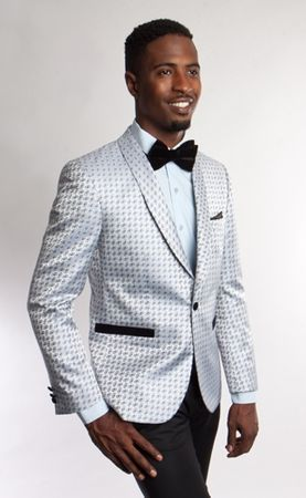 Tazio Mens Silver Blue Pattern Slim Fit Tuxedo Jacket MJ182-02