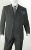 Three Button Super 150s Wool Charcoal Pinstripe 3 Piece Suits Alberto 3BVP-1