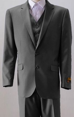 Mens 2 Button Style Wool Charcoal Heather 3 Piece Suits Alberto 2BV1P