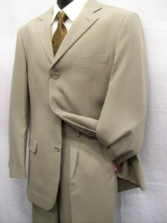 Tazio Mens Putty Tan 3 Button Suit  M069 - click to enlarge