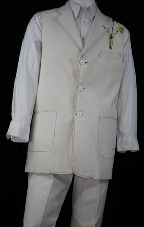 Canto Mens White Chinese Embroidered Pattern Denim Long Vest Outfit 9080