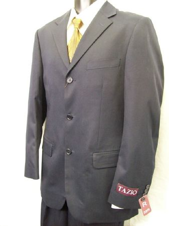 Tazio Single Breasted Italian Cut Mens Solid Navy Suits M069 IS